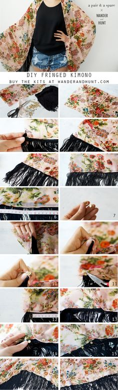 DIY: fringed kimono is creative inspiration for us. Get more photo about home de… – Bebekler hakkında herşey Sewing Hacks, Sewing Tutorials, Sewing Crafts, Sewing Projects, Sewing Patterns, Do It Yourself Baby, Do It Yourself Fashion, Diy Clothing, Sewing Clothes