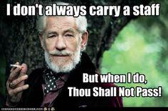 Ian Mckellen - Gandalf - I don't always carry a staff. But when I do, Thou Shalt Not Pass!
