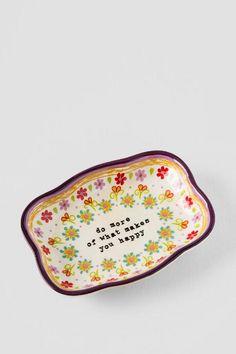 Ceramic Makes You Happy Artisan Trinket Dish $16.00