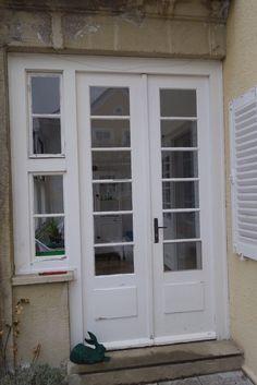 Tür Doppeltüre, historisch antik 30er Jahre aus Glas und Holz 255 H x 130 B