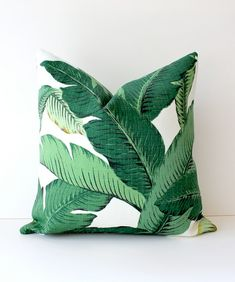 Green Floral Decorative Pillow Cover | By WhitlockandCo