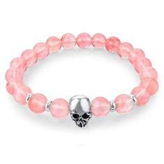 Natural Stone Beads Skull Bracelet
