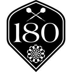 Darts 180 Flight - Die Flight eines Darts mit zwei gekreuzend Dartpfeilen, einer Dartscheibe und 180 , der h�csten Punktzahl beim Dart.