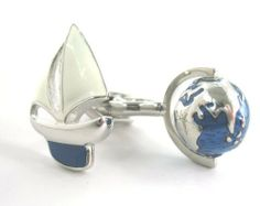 "Sailing Cufflinks Cuff Links Boating Sail Around the World Sail Boat Navy C1 DGW Cufflinks. $49.95. Globe Spins!. Comes packaged in a Limited Edition Collectors Storage Box!. Approximately 3/4"" x 1/2"". Free Gift Wrapping with each order!. Sailing Cufflinks Cuff Links Boating Sail Around the World Sail Boat Navy C1"