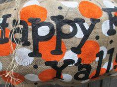 Big Burlap Pumpkin Happy Fall Yall