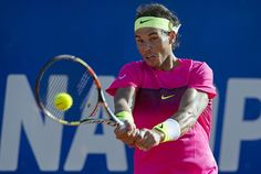 Spanish tennis player Rafael Nadal returns the ball to Argentine tennis player Carlos Berlocq during the Argentina ATP Open semi-finals, in Buenos Aires on February 28, 2015.