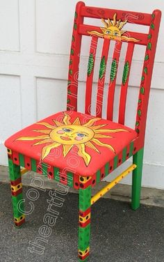Reciclagem de cadeiras artesaniasmexicanasdiy is part of Hand painted chairs - Hand Painted Chairs, Whimsical Painted Furniture, Painted Benches, Hand Painted Furniture, Funky Furniture, Refurbished Furniture, Colorful Furniture, Art Furniture, Furniture Projects