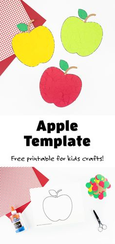 Use this free printable apple template to make this colorful paper apple craft! Perfect for praticing fine motor skills with preschoolers! #appletemplate #finemotor #applecraft #fallcraft Easy Crafts For Kids, Toddler Crafts, Preschool Crafts, Crafts To Make, Leaf Crafts, Fall Crafts, Templates Printable Free, Free Printables