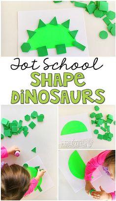 Shape dinosaurs are a fun fine motor and math activity for tot school, preschool or kindergarten. Dinosaur Projects, Preschool Art Projects, Preschool Lessons, Preschool Crafts, Dinosaur Crafts For Preschoolers, Dinosaurs For Toddlers, Preschool Curriculum, Preschool Themes, Preschool Printables