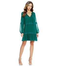 Gianni Bini Pearl Tie-Neck Lace Inset Long Sleeve Chiffon Dress