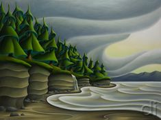 Mystic Beach 36 x 48 2015 Canadian Painters, Canadian Artists, Artist Painting, Silk Painting, Art Pictures, Art Pics, Landscape Art, Landscape Paintings, Mountain Art