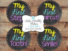 Chalkboard Milestone Stickers, Baby Keepsake, Photo Milestone Keepsake,Baby First Tracker, Photo Firsts, Custom Milestone, Photo Prop on Etsy, $12.50
