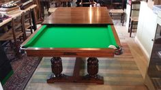 Antique Snooker Table Restoration. Before and After Photos.   Browns Antiques Billiards and Interiors.