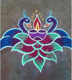 Rangoli Borders, Rangoli Border Designs, Beautiful Rangoli Designs, Rangoli Ideas, Rangoli Designs Diwali, Kolam Dots, Rangoli Colours, Latest Rangoli, Muggulu Design