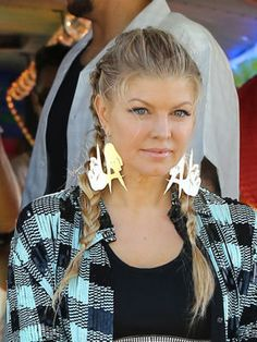 Fergie in a braided hairstyle