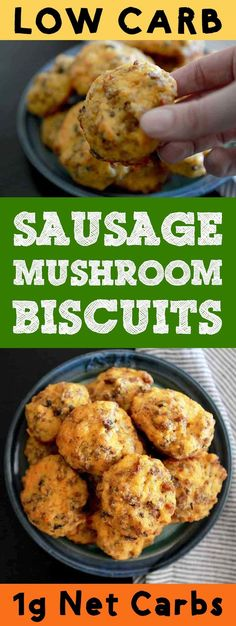 This recipe for low carb keto sausage mushroom biscuits goes out to all the people in this world who like to mix together all the food on their plate.  You'll love this mix-up of cheese biscuits and sausage gravy.  #resolutioneats #lowcarb #keto #biscuits