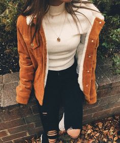 Frauenkleidung – Perfect fall outfit with a nice shearling jacket. Visit Daily Dress Me at dailyd… – Pinyou Winter Outfits For School, Casual Winter Outfits, Stylish Outfits, Fall Outfits, Cute Outfits, School Outfits, Dress Casual, Beautiful Outfits, Business Outfit Damen