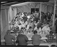 Manzanar Internment Camp Barracks | Mealtime at the Manzanar Relocation Center. Every effort is put forth ...