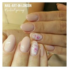 #Acrylic #extension with #gelpolish and #handpainted #onestroke #flowers on top #nails #nailart Instagram.com/nailartinlondon