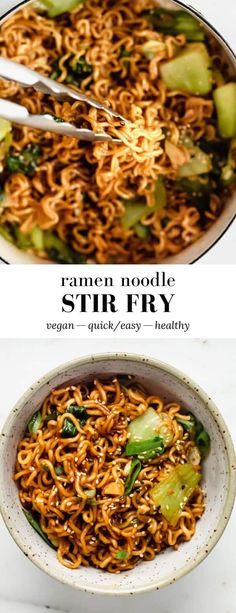 This Ramen Noodle Stir Fry takes the easy Asian noodles out of their normal soup context for a delicious dish filled with fresh green veggies and a rich soy flavour! Stir Fry Ramen Noodles, Fried Ramen, Asian Noodles, Vegan Dinners, Lunches And Dinners, Cooking Recipes, Healthy Recipes, Vegetarian Recipes Noodles, Ramen Noodles Recipes Easy