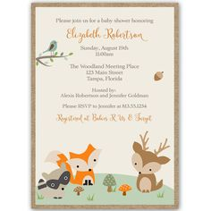 Woodland Friends Baby Shower Invitation - Invite guests to your baby shower with this woodland invitation featuring forest animals.
