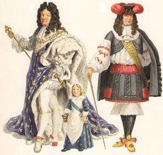 17th century ~ Luigi XIV in vesti di rappresentanza qui ritratto in età matura e da bambino; accanto la rhingrave, calzamaglia unita a un gonnellino in voga nella prima metà degli anni '60