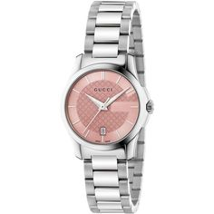 Gucci Women's Swiss G-Timeless Stainless Steel Bracelet Watch 27mm... (€725) ❤ liked on Polyvore featuring jewelry, watches, no color, bracelet wrist watch, gucci watches, stainless steel watches, polish jewelry and stainless steel bracelet