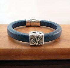 Licorice Leather Bracelet Blue Silver Regaliz Simple Jewelry. $34.00, via Etsy.