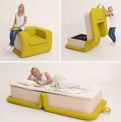 smart furniture convertible chair to bed - 83 Creative amp; Smart Space-Saving Furniture Design Ideas in 2017 Smart Furniture, Space Saving Furniture, Funky Furniture, Furniture Design, Unique Furniture, Tiny House Furniture, Space Saving Beds, Folding Furniture, Victorian Furniture