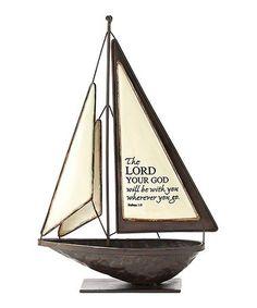 Joshua 1:9 Engraved Decorative Sailboat #zulily #zulilyfinds