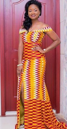 Hey Damsels, Have you checked out the latest Kente styles? It is true that Kente outfits work perfectly for engagements and weddings. African Dresses For Women, African Attire, African Wear, African Fashion Dresses, African Women, African Style, Ankara Fashion, African Fashion Designers, African Print Fashion