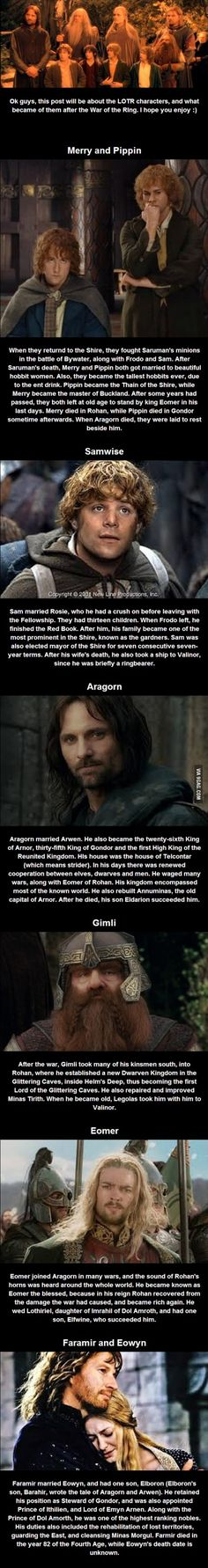 What happened to the LOTR characters after the movies?