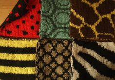 Free - Double knitted animal squares.