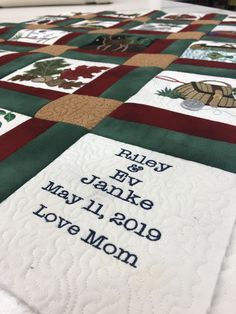 Wonderful wedding gift created by customer Shelly Olivier Janke using our fabrics to make her We are sure the happy couple love it! Quilting For Beginners, Quilting Tutorials, Quilting Projects, Quilting Designs, Diy Quilting, Machine Quilting, Machine Embroidery, Charm Pack Quilts, Christmas Quilt Patterns