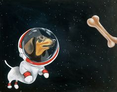 Dachshund space dog chasing space bone PRINT of original painting by Amy Yeager at etsy