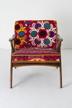Inge Chair,  Old seventies armchair covered with a vintage suzani. Anthropologie