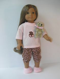 American Girl SWEET TREATS cupcake cake PAJAMAS pjs SLIPPERS Doll NOT included