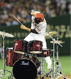 野球選手とドラム