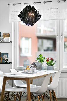 Dinning table in front of the window