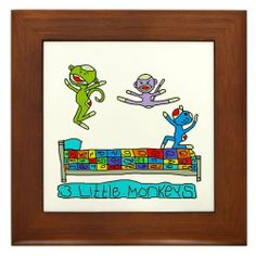 """3 Little Monkeys Framed Tile by CafePress by CafePress. $15.00. Quality construction frame constructed of stained Cherrywood. Rounded edges. Two holes for wall mounting. Frame measures 6"""" X 6"""" x 0.5"""" with 4.25"""" X 4.25"""" tile. 100% satisfaction guarantee return policy. 3 Little Monkeys Jumping on the bed... That rhyme will be stuck in my head forever. Children always seem to love it."""