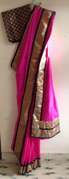 Pink black and gold semi silk saree with by GiaExquisiteIndian