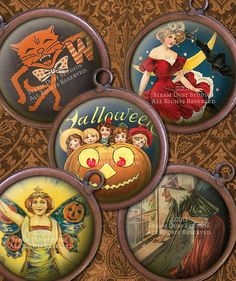 Victorian Halloween  Witches Jack-O-Lanterns by steamduststudios