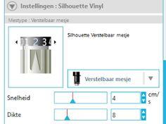 Uitleg Silhouette Cameo - werken met vinyl en de snijinstelling.