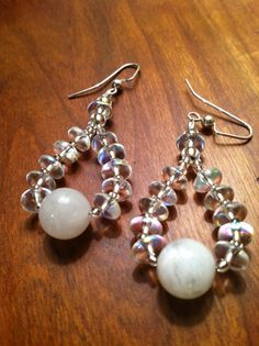Moonstone and Crystal Earrings by TripIntoLight on Etsy, $15.00