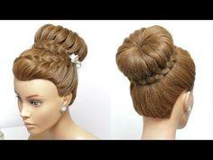 Flower Braided Bun Hairstyle. Easy Updo. Hair Tutorial - YouTube