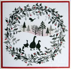Another Card-io card today this time using the geese from one of the new sets I bought recently. I just love making these cards and the. Diy Christmas Cards, Xmas Cards, Advent, Cardio Cards, Lavinia Stamps Cards, Tiddly Inks, Craftwork Cards, Snowflake Designs, Art Impressions