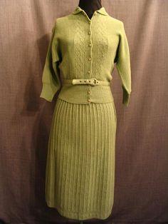 09019543 09006673 2piece sweater dress womens 1930s  green knit wool C34 W24.JPG