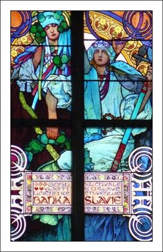 Close-up of stained glass window in St Vitus Cathedral, Prague by Alphonse Mucha
