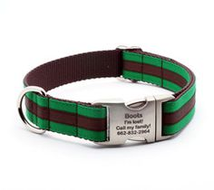 Preppy Layered Stripe Dog Collar with Personalized Buckle - Emerald/Chocolate