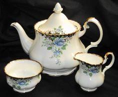 Royal Albert England Sonatina Large Tea Pot Creamer Sugar Bowl Set Teapot   eBay